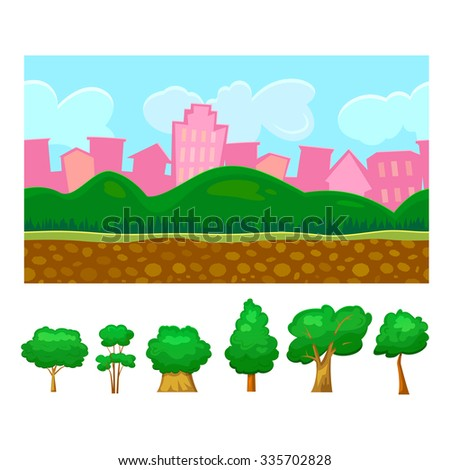 Seamless background for a simple game with additional elements trees, day scene urban landscape with hills, editable vector illustration - stock vector