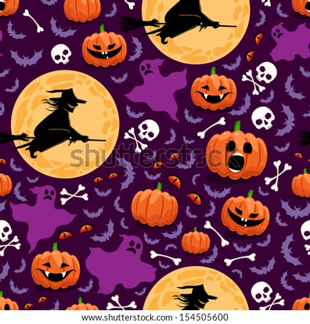 seamless background for Halloween with pumpkins, witches and ghosts. vector illustration  - stock vector