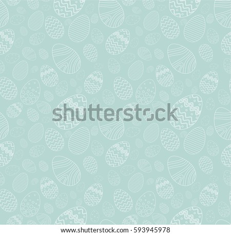 Seamless background for happy Easter day. The decorative Easter eggs with different patterns and different sizes on a blue background.