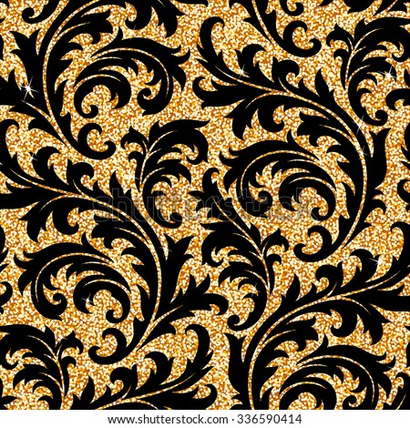 Seamless background from a floral golden ornament, Fashionable modern wallpaper or textile - stock vector