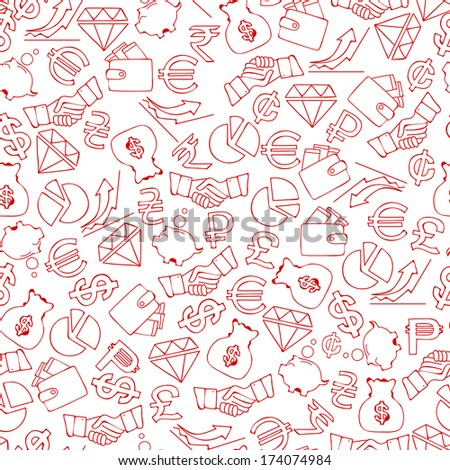 seamless background from hand drawn finance icons, vector illustration