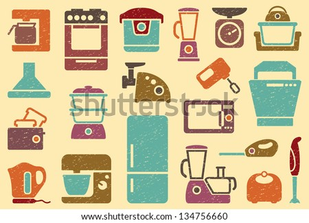 Seamless background from icons of kitchen home appliances - stock vector