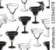 Seamless background, glasses with a drink, black silhouettes isolated on white. Vector - stock vector