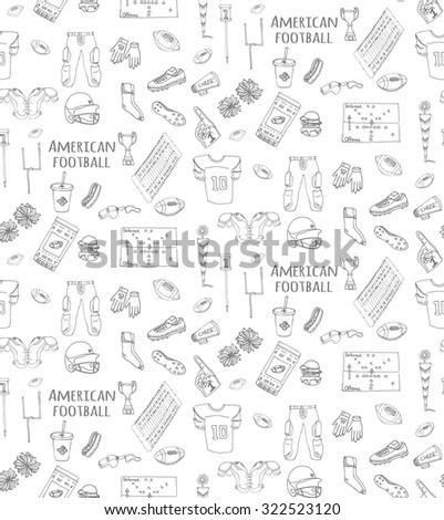 Seamless background hand drawn doodle american football set Vector illustration Sketchy sport football icons, ball helmet jersey pants knee thigh shoulder pads cleats field cheerleading down indicator - stock vector