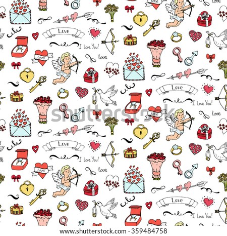 Seamless background Hand drawn doodle Love and Feelings collection Vector illustration Sketchy Love icons Big set of icons for Valentine's day Mothers day wedding, love and romantic events Heart Cupid - stock vector