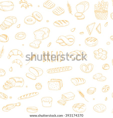 Seamless background Hand drawn doodle set of cartoon food: rye, ciabatta, whole grain, sliced bread, bagel, french baguette, croissant Vector illustration Sketchy flour products elements Bakery - stock vector