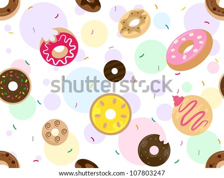 Seamless Background Illustration Featuring Doughnuts