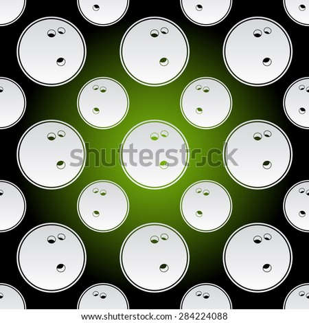Seamless background illustration of repeating bowling balls - stock vector