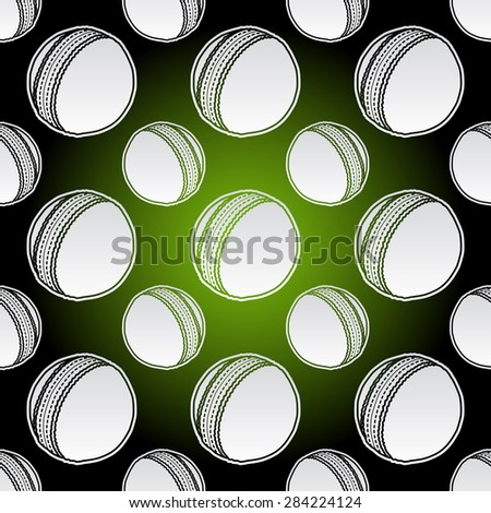 Seamless background illustration of repeating cricket balls - stock vector