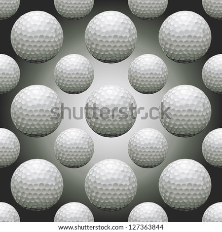 Seamless background illustration of repeating golf balls - stock vector