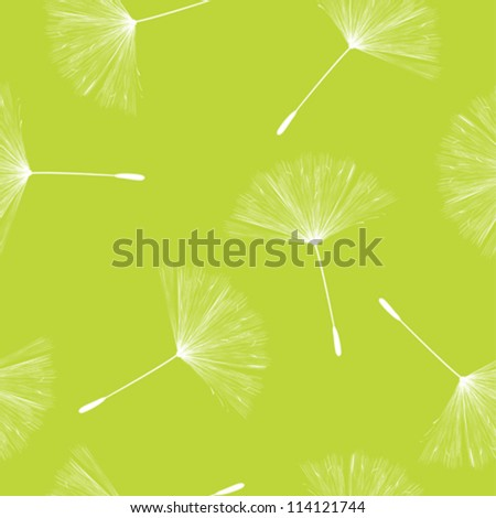 Seamless background illustration with flying dandelion seeds - stock vector