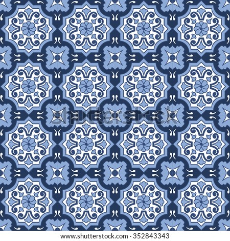 Seamless background image of vintage blue tone round flower pattern. Background image of vintage blue tone round flower pattern.