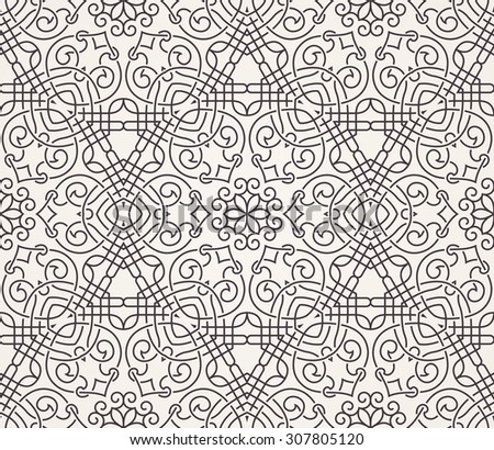 Seamless background in Arabic style. Black and white monochrome wallpaper with patterns for design. Traditional oriental decor - stock vector