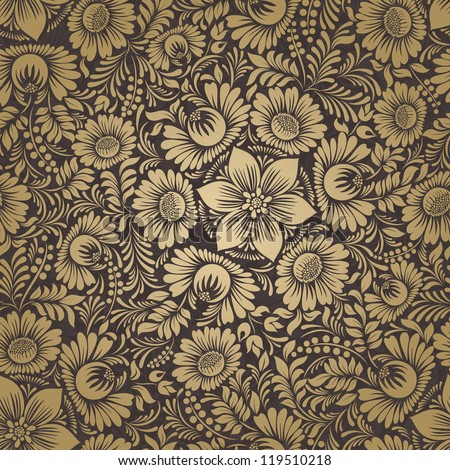 Seamless background in folk style gold - stock vector