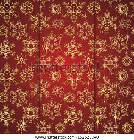 Seamless background in red with snowflakes. Winter design. Can be used as Christmas card       - stock vector