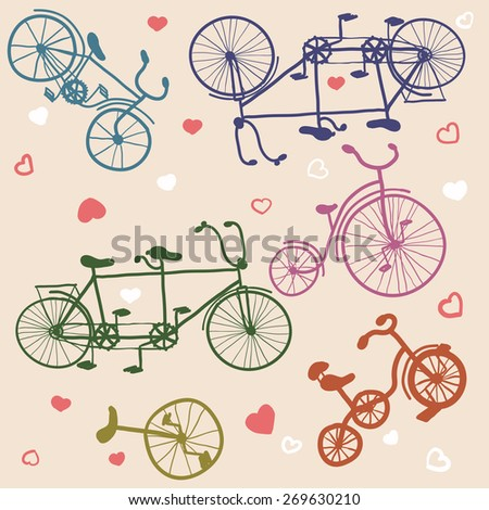 seamless background is from various bicycles on beige background - stock vector