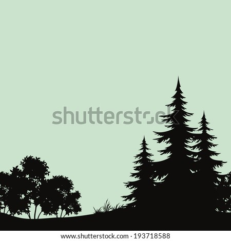 Seamless background, landscape, night forest with fir trees and bush silhouettes. Vector - stock vector