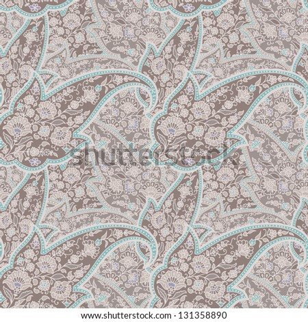 Seamless background made of paisley. Pastel brown. - stock vector