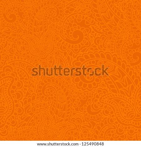 Seamless background made of paisley. Vivid orange. - stock vector