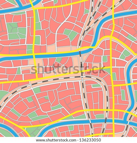 Seamless background map of city with neighborhoods, streets, rivers, parks without names.