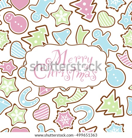 Seamless background merry christmas with gingerbread