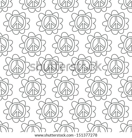 Seamless background. Monsters and freaks. Set 18. Doodle Peace Sign. Black-white. Vector illustration - stock vector