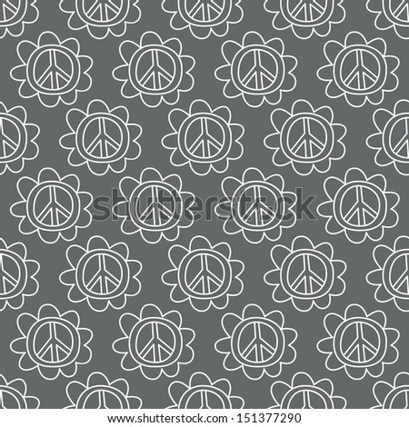 Seamless background. Monsters and freaks. Set 19. Doodle Peace Sign. Black-white. Vector illustration - stock vector