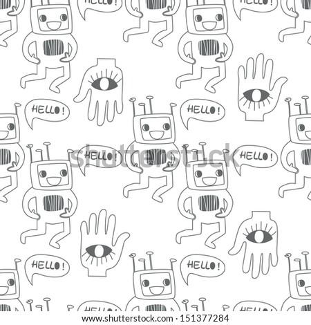 Seamless background. Monsters and freaks. Set 14. Robot. Black-white. Vector illustration - stock vector