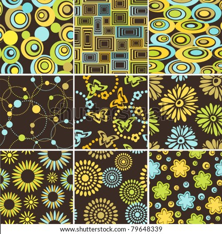 seamless background - nine retro patterns