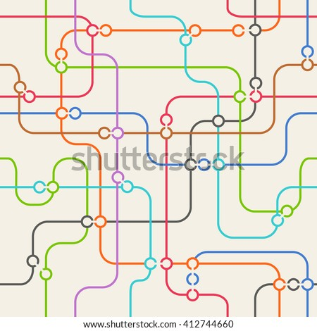 Seamless background of abstract metro scheme - stock vector