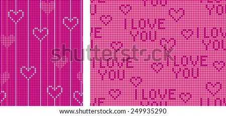 Seamless background of bands scored points. Heart and appreciation inscription. - stock vector