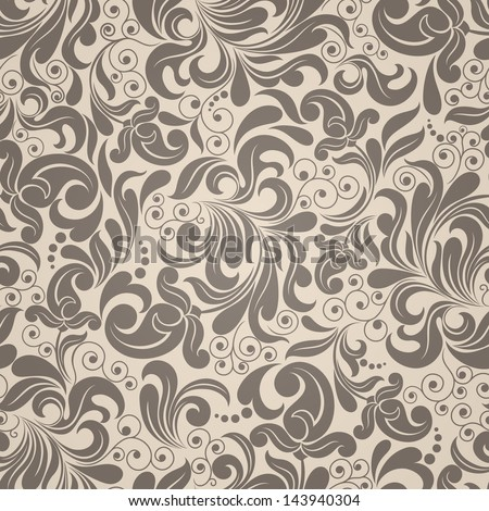 Seamless background of beige and brown color in the style of Damascus - stock vector
