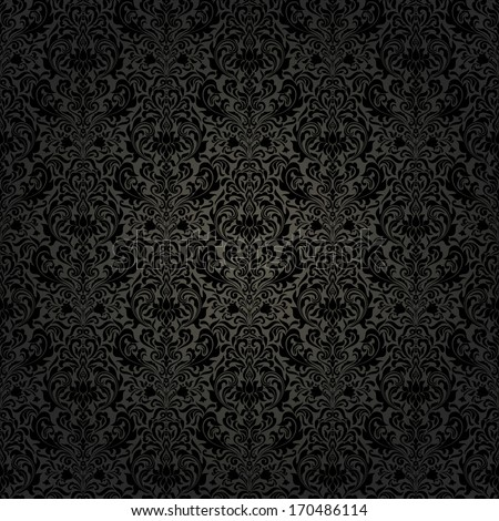 Seamless background of black color in the style of baroque