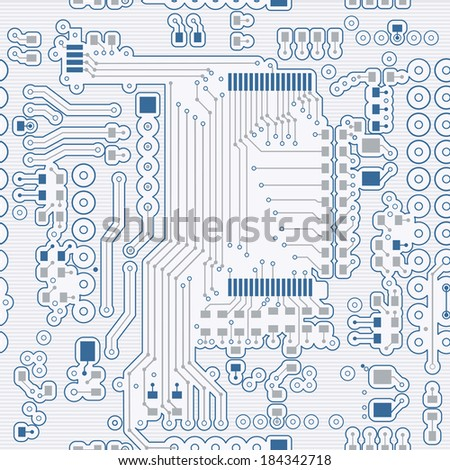 Seamless background of blue in the form of printed circuit board  - stock vector