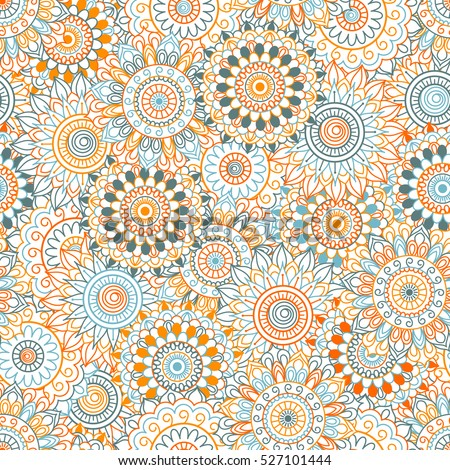Seamless background of blue, orange and red color in in Arabic style. Mandala ornament.