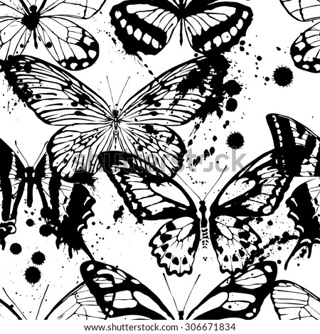 Seamless background of butterflies black and white colors. Vector illustration - stock vector