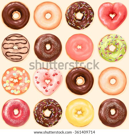 Seamless background of chocolate, red heart, green, yellow and orange color glazed donuts, vector collection of donuts illustration. - stock vector