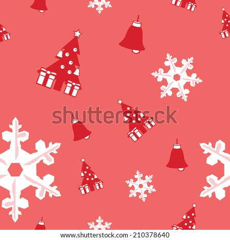 seamless background of Christmas tree, bell and snowflake vector - stock vector