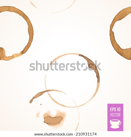 Seamless background of coffee stain. Isolated On White Background. Bright background of brown circles