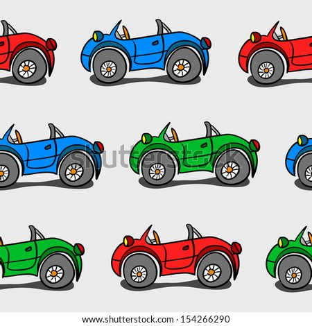 Seamless Background Of Colorful Cars - stock vector