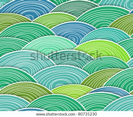 Seamless background of curled abstract green waves - stock vector