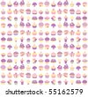 Seamless background of cute cupcakes in pastel colors. - stock vector
