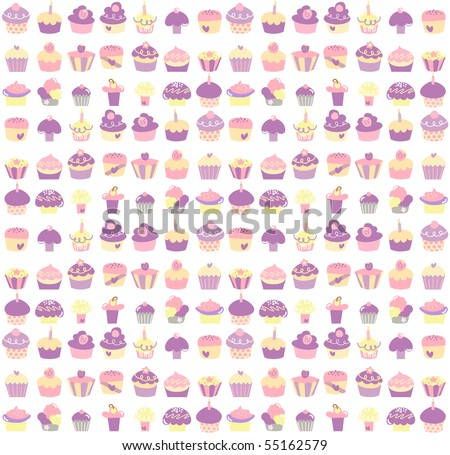 Seamless background of cute cupcakes in pastel colors.