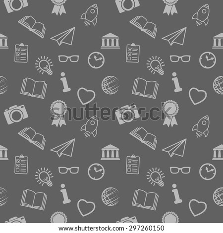 seamless background of different school objects - stock vector