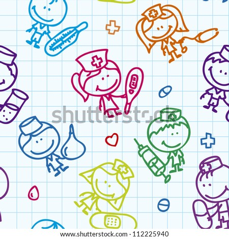 Seamless background of doodle happy children with medical tools plays hospital on school paper - stock vector