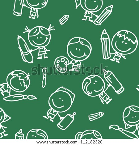 Seamless background of doodle happy children with pen, pencil and paintbrush on school blackboard - stock vector
