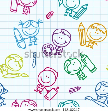 Seamless background of doodle happy children with pen, pencil and paintbrush on school paper