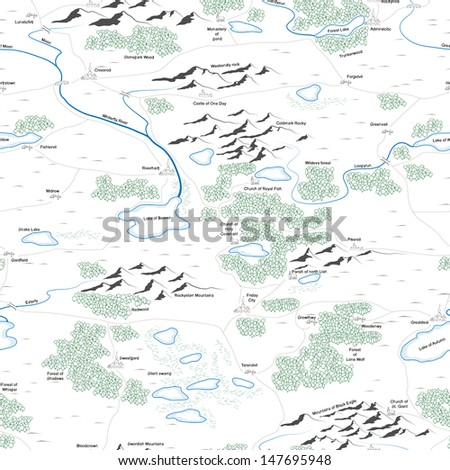 Seamless background of drawed map with forests, lakes, rivers, mountains, hills, cities with titles. - stock vector