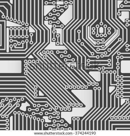 Seamless background of electrical circuit of computer board device (motherboards). Gray Light Abstract Technology background for computer graphic website internet business. Electrical circuit