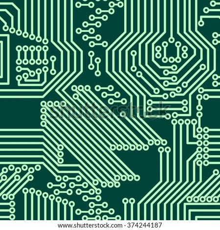 Seamless background of electrical circuit of computer board device (motherboards). Green Light Abstract Technology background for computer graphic website internet business. Electrical circuit